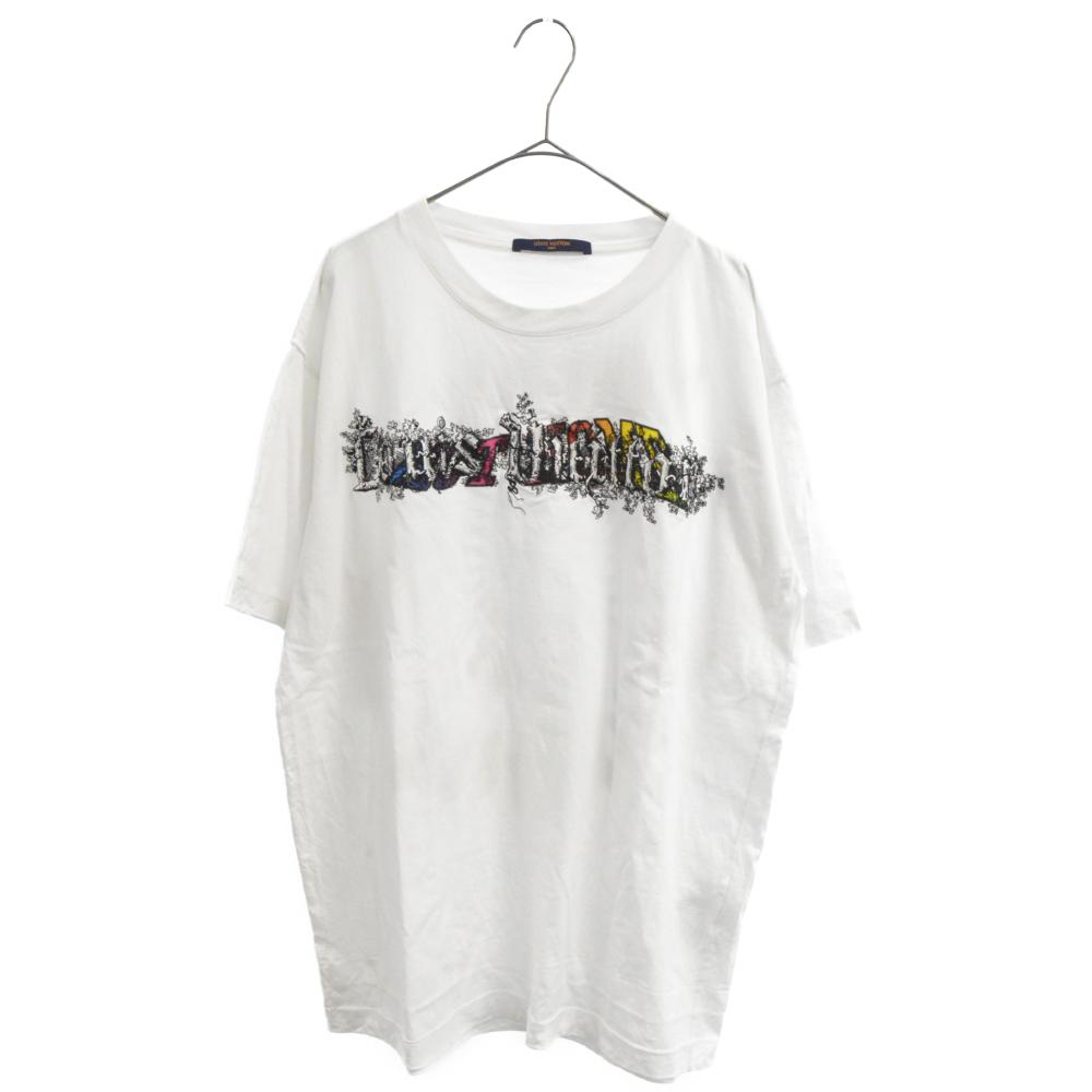 刺繍レインボープリント半袖Tシャツ