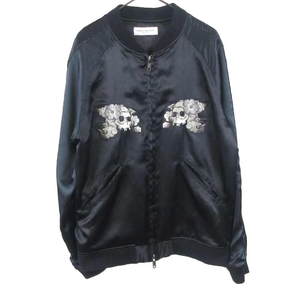 ハイビスカススカル刺繍スカジャン ジャケット
