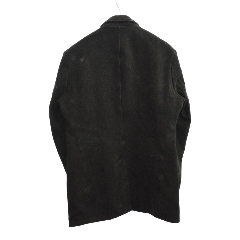 クロスボールボタン カウヘビーレザーロング丈Pコート ジャケット