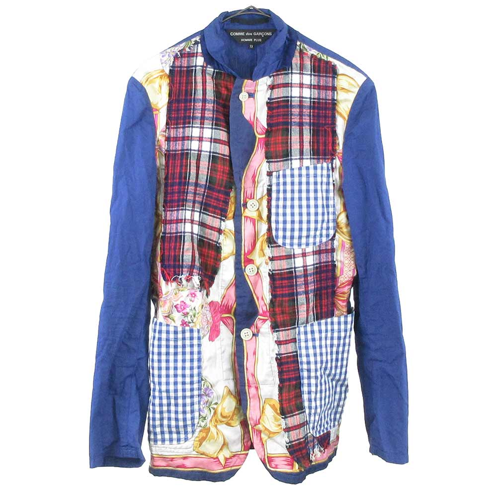 Random Collage期セットアップ スカーフパッチワークシャツジャケット チェック裏地ストレートパンツ