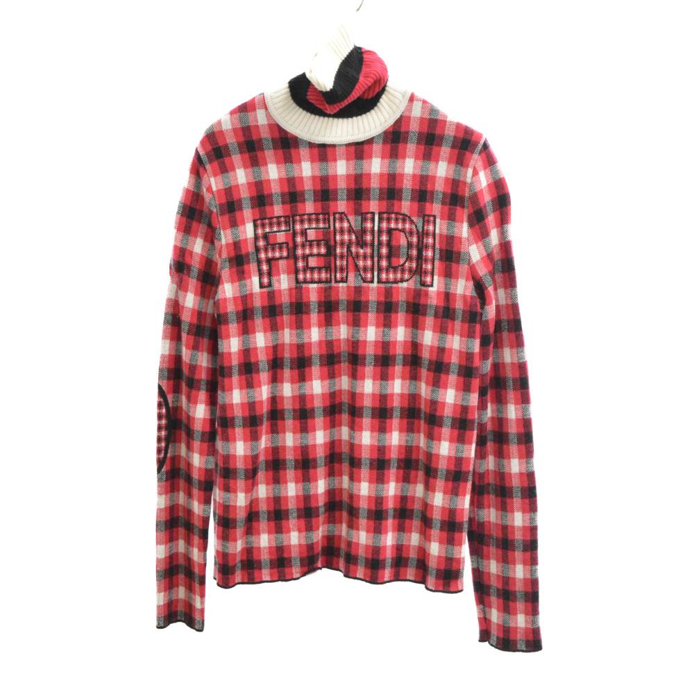 フロントロゴデザイン チェック総柄 タートルネックセーター