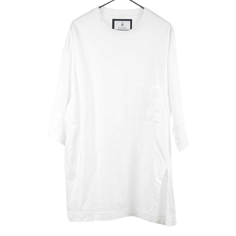 レイヤード サイドスリット クルーネック 長袖 Tシャツ
