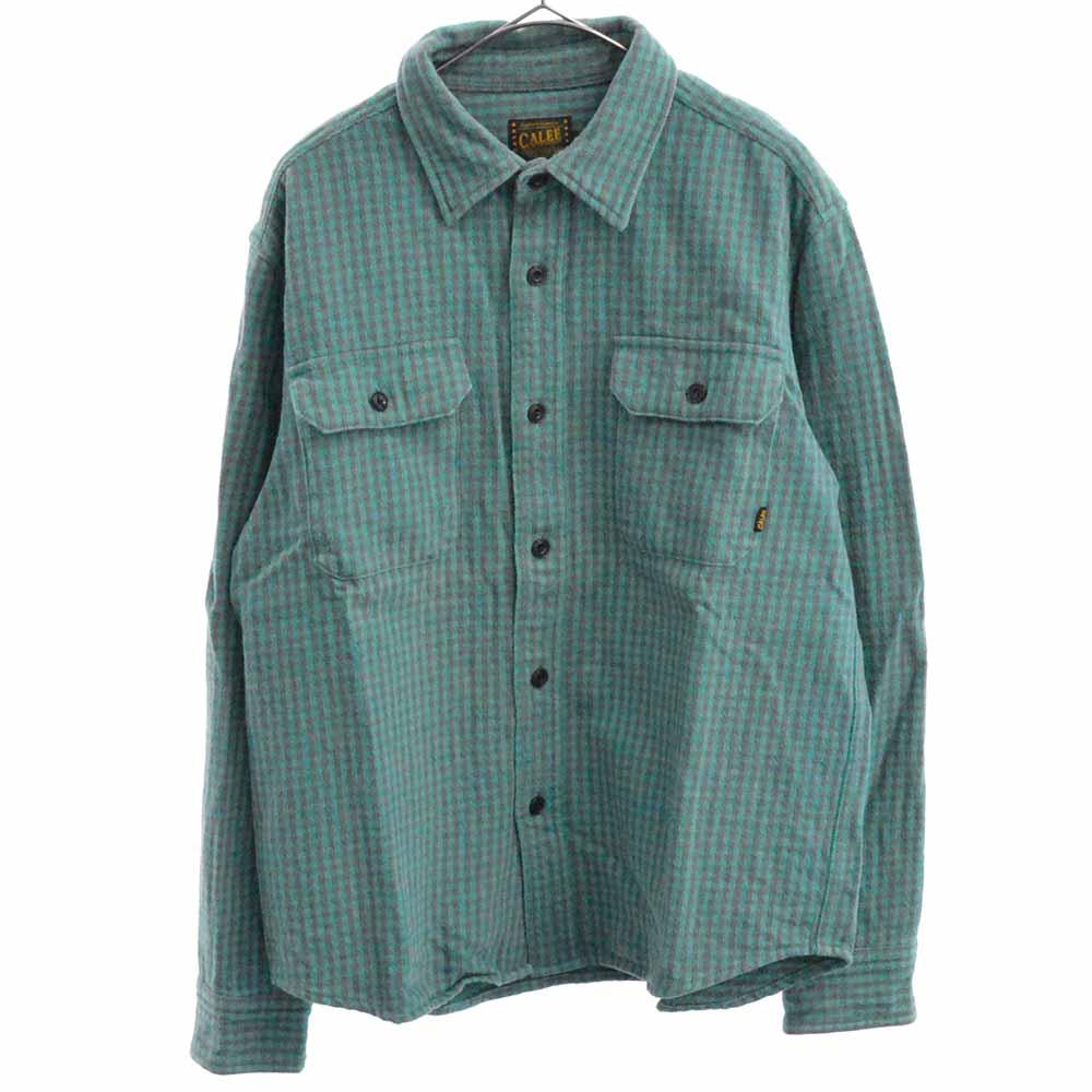 ギンガムチェック柄長袖シャツ