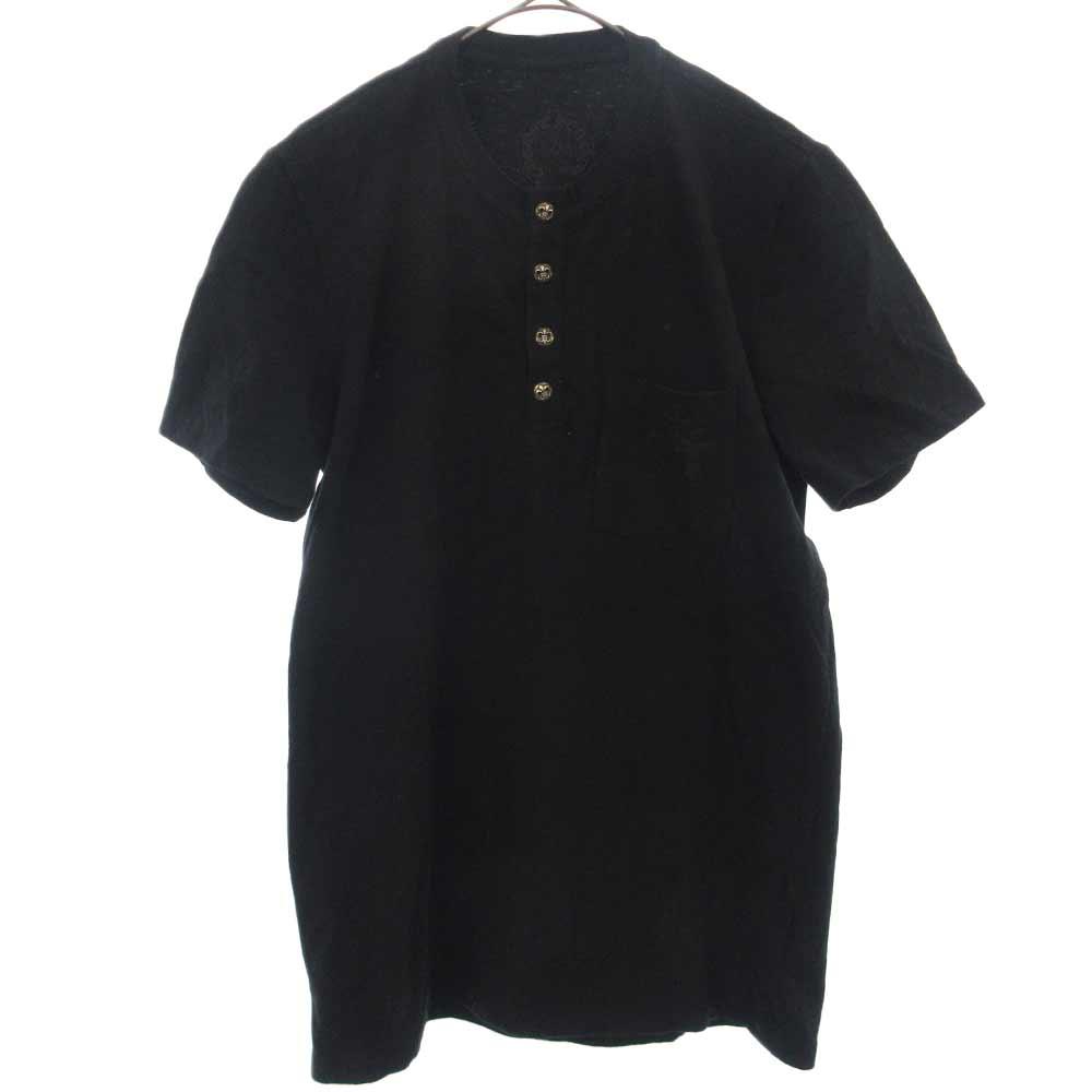 BSフレアボタンヘンリーネックレザークロスパッチ半袖Tシャツ