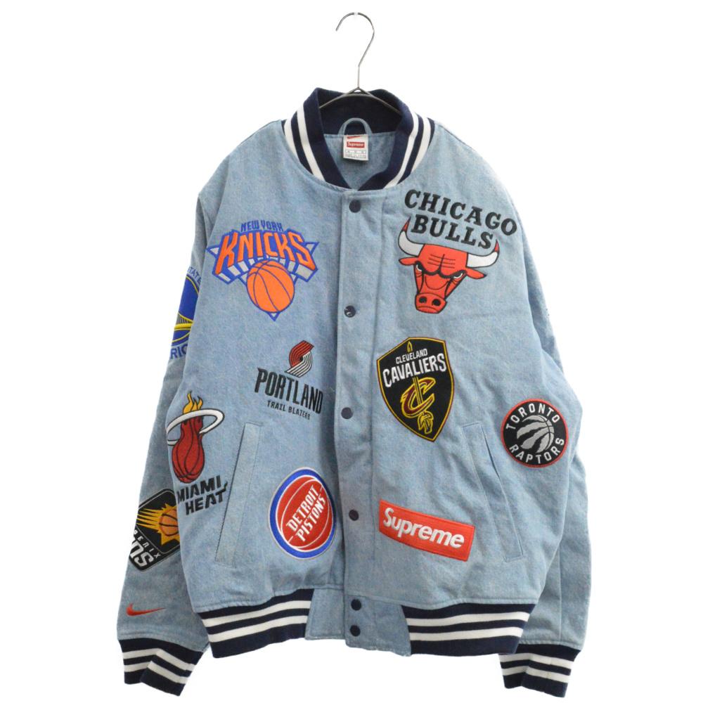 ×NIKE NBA Teams Warm-Up Jacket エンブレム刺繍デニムジャケット スタジャン