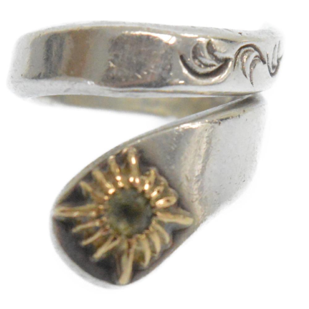 ストーン入K18太陽神唐草フリーリング小 指輪 日本サイズ約2号