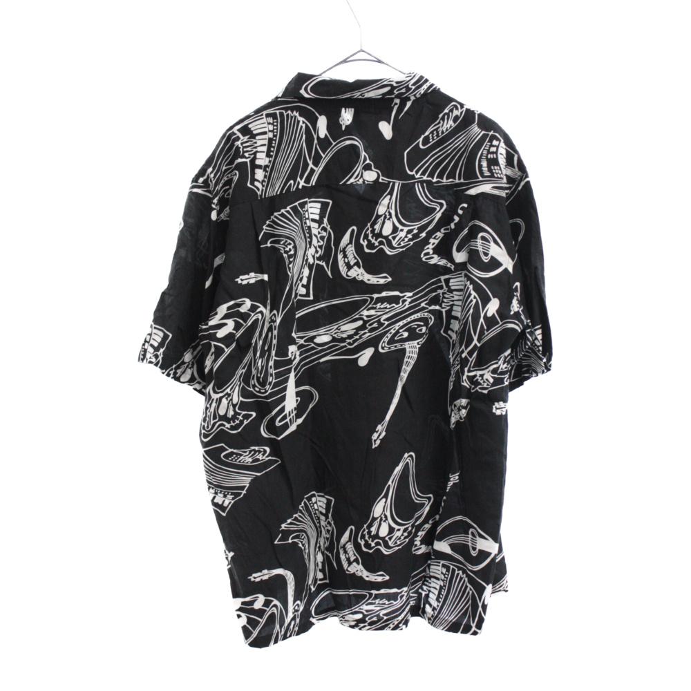 テンセル混総柄半袖アロハシャツ