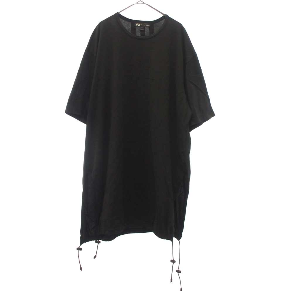 Drawstring Long Tee Black オーバーサイズ レイヤード ドローイング半袖Tシャツ