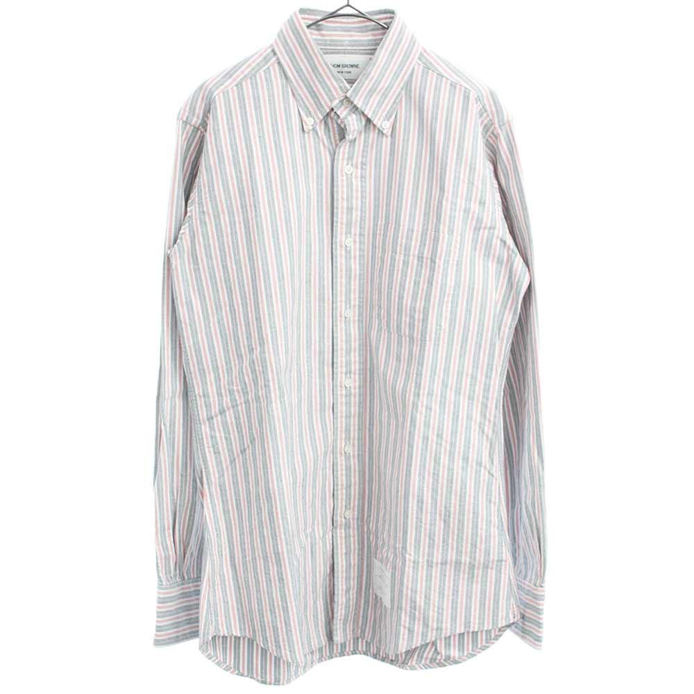オックスフォードストライプ柄長袖シャツ