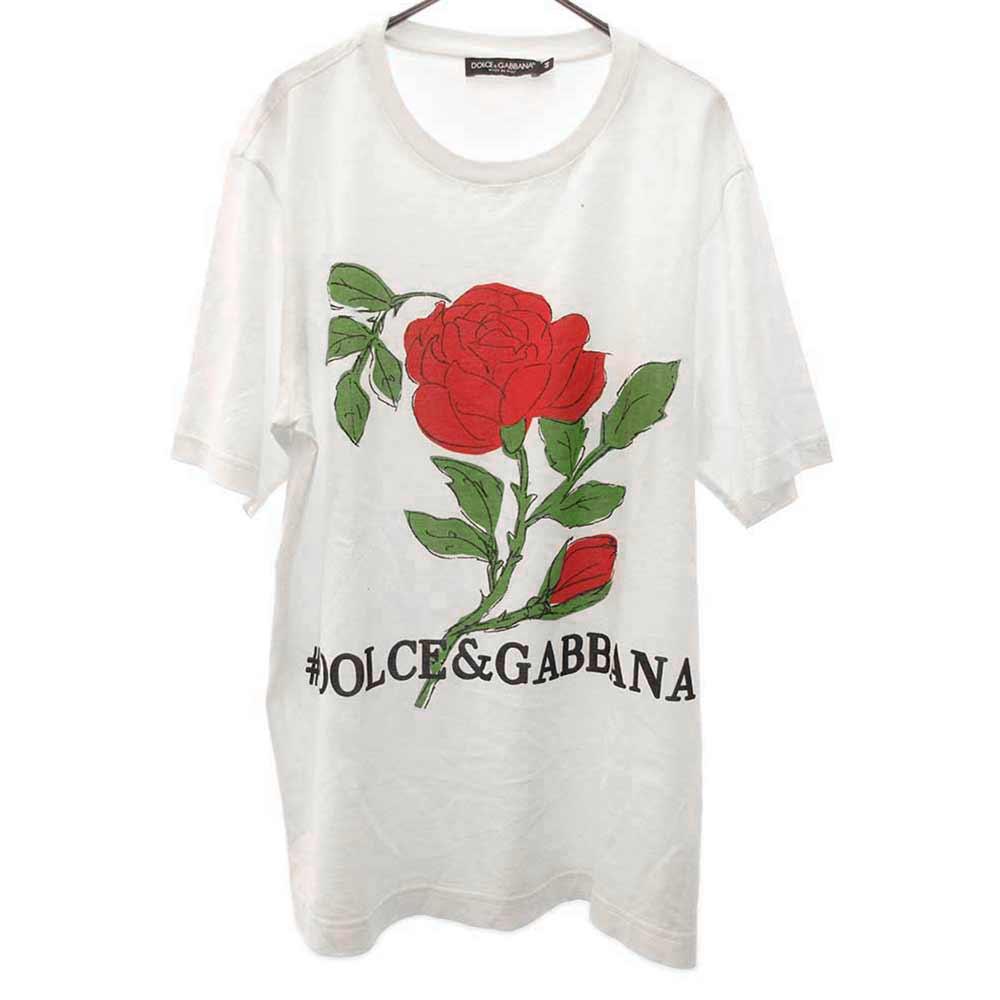 ローズプリント半袖Tシャツ