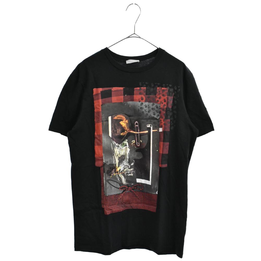 チェックデザインフロントフォトプリント半袖Tシャツ