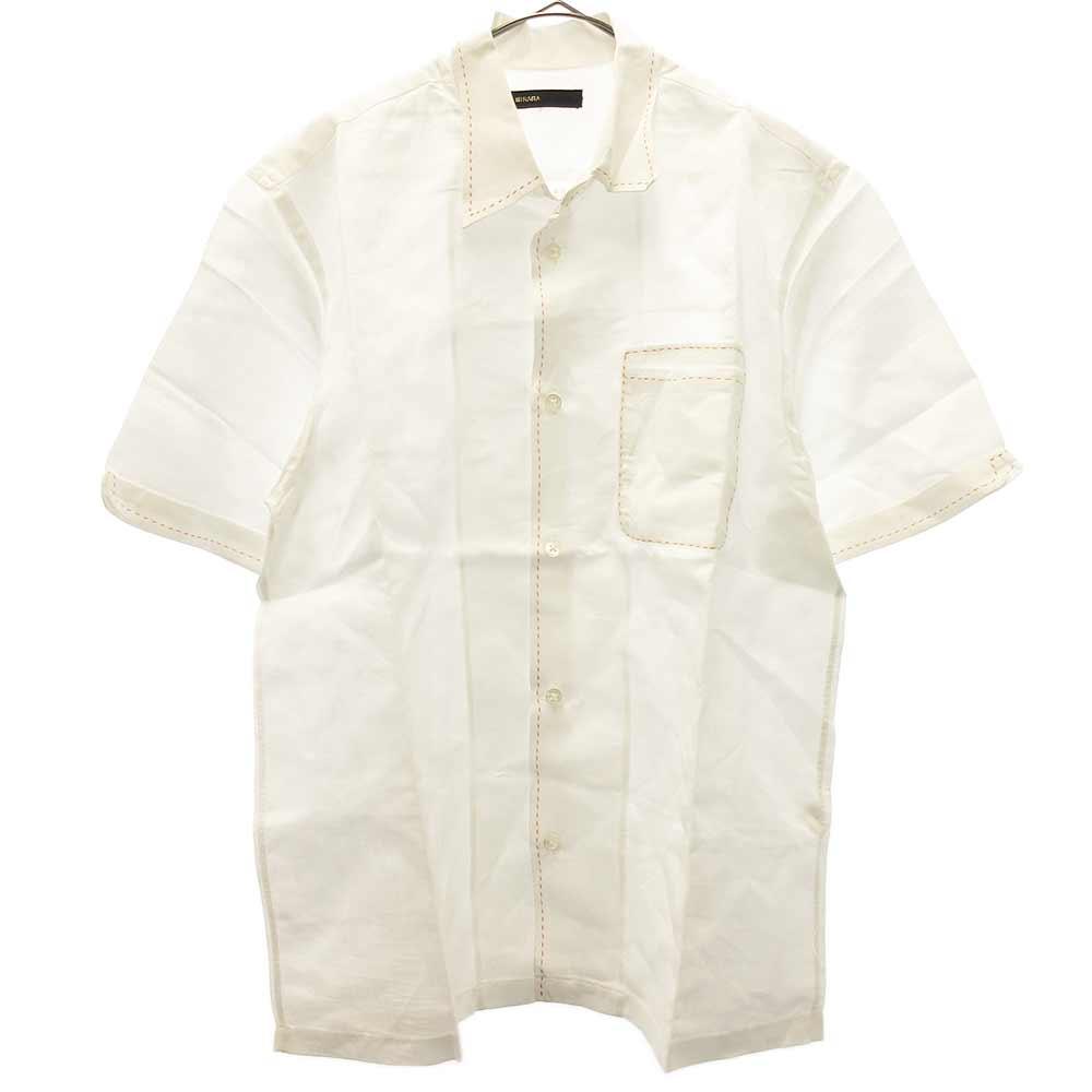 ステッチデザインリネン混半袖シャツ