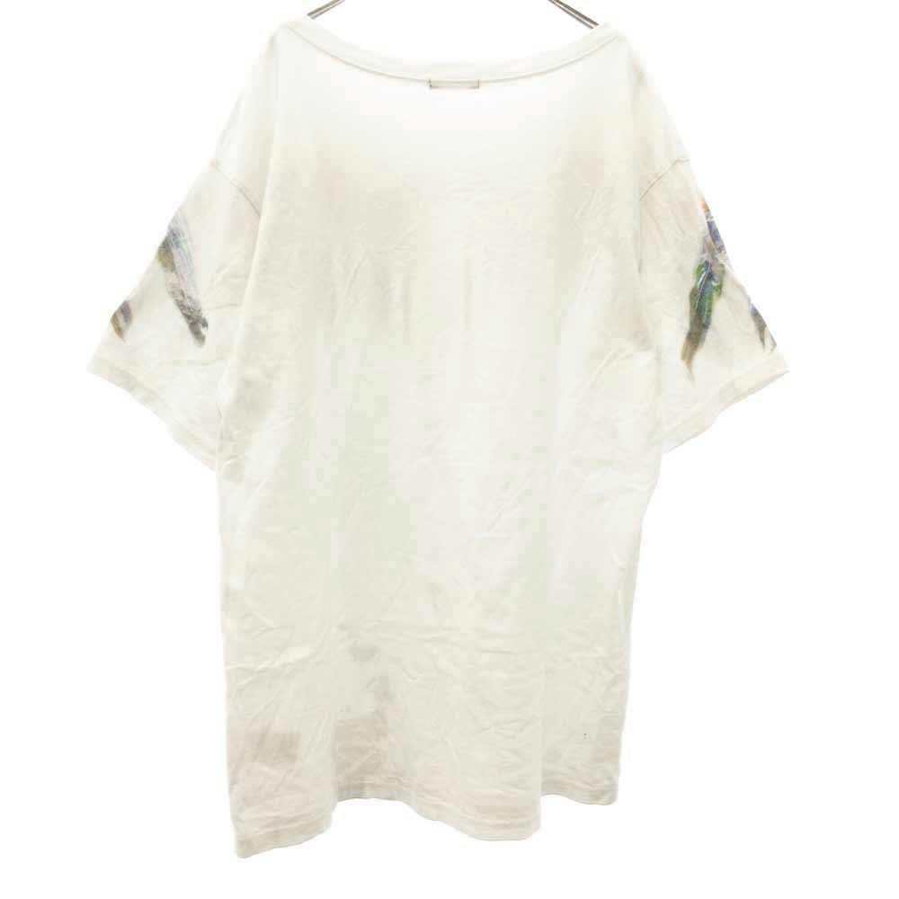 フロントフェザーグラフィックプリントクルーネック半袖Tシャツ