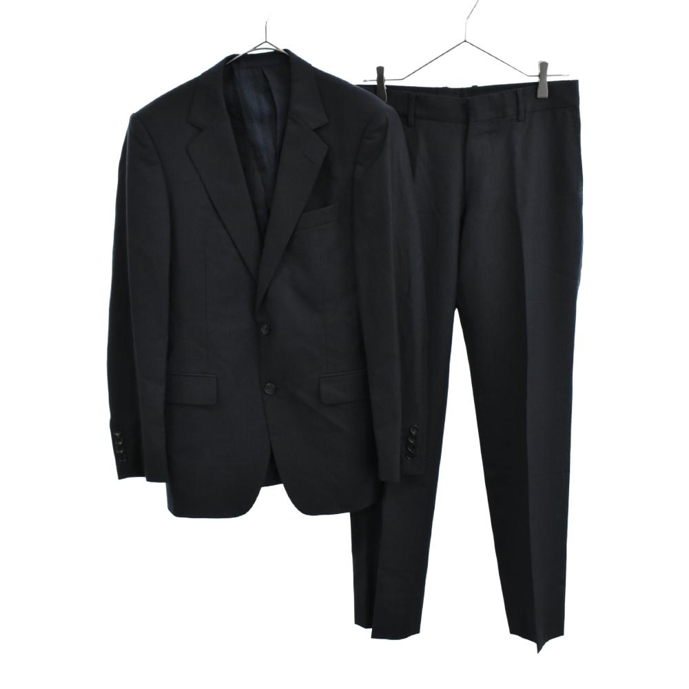 シルク混ストライプ柄セットアップスーツ 2Bテーラードジャケット/ノータックスラックスパンツ