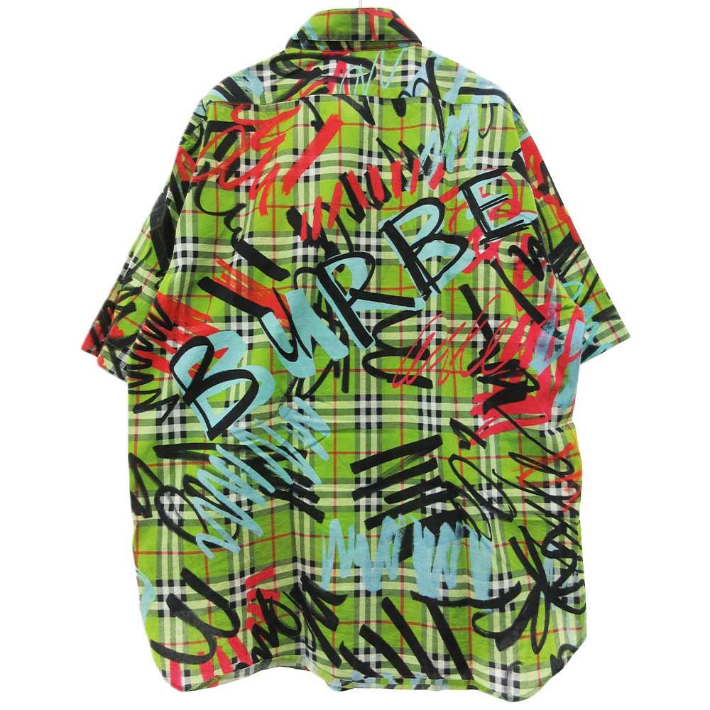 Graffiti Print Shirtグラフティプリント半袖チェックシャツ