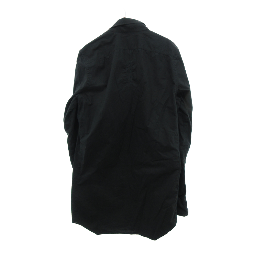 ロングシルエット スタンドカラー隠しボタン長袖シャツ