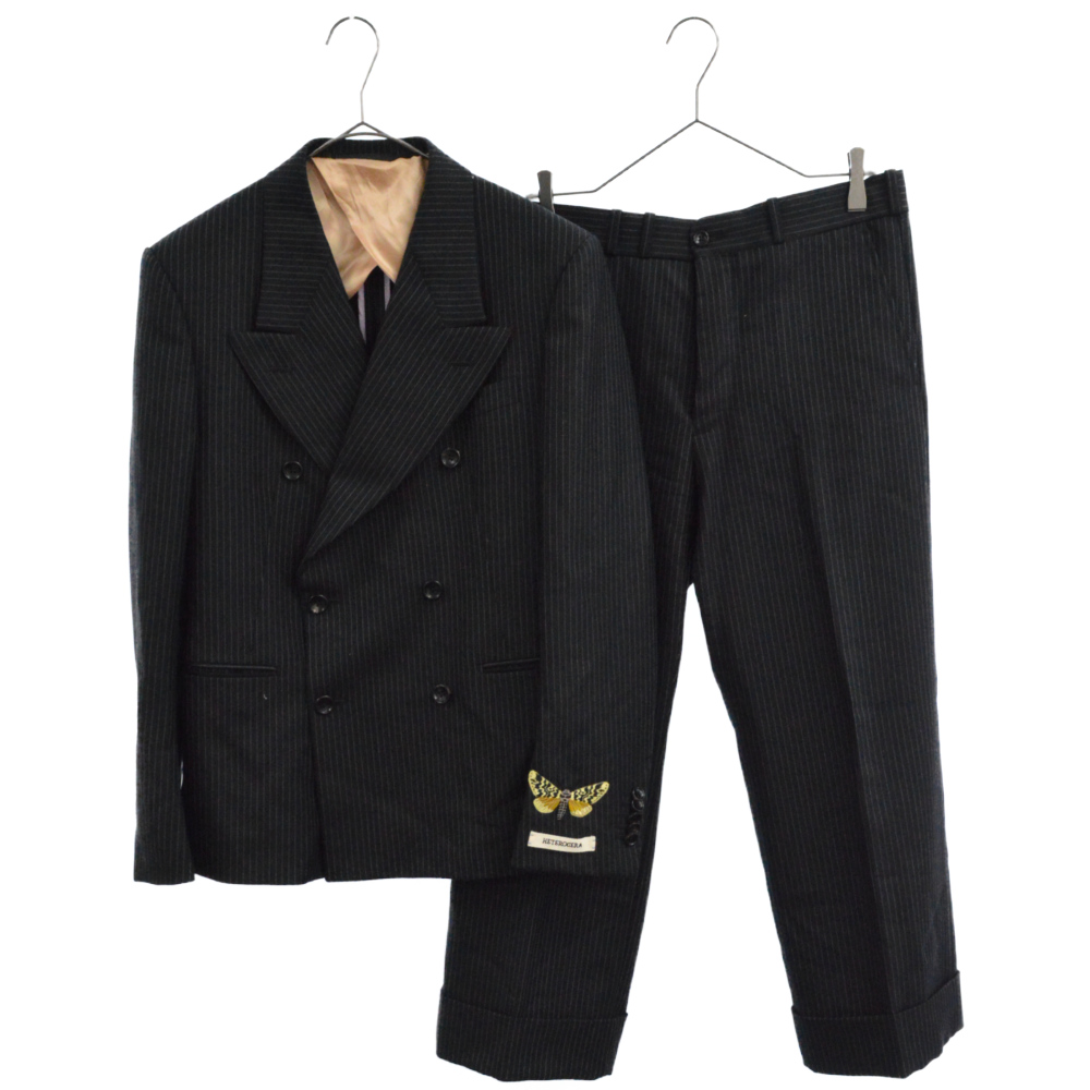 バタフライエンブロイダリーダブルブレステッドテーラードジャケット スラックスパンツ セットアップスーツ