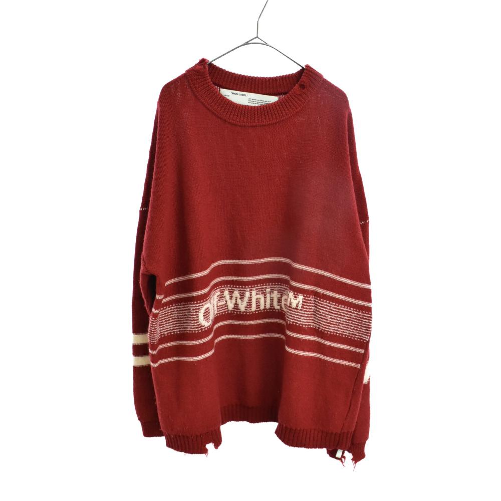 ダメージ 加工 ブランドロゴ刺繍オーバーサイズニット セーター