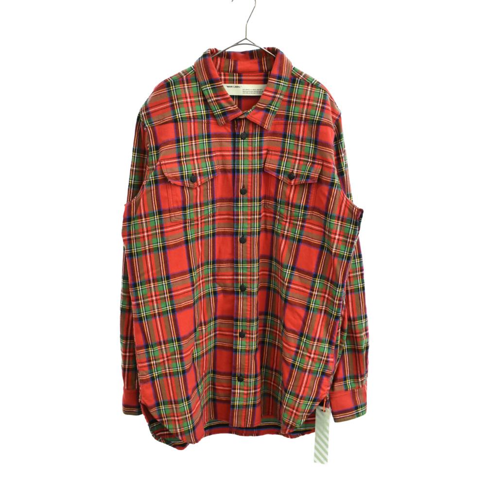 チェック柄バックアロープリント長袖シャツ