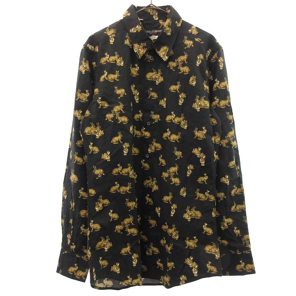 GOLD ラビット総柄長袖Tシャツ