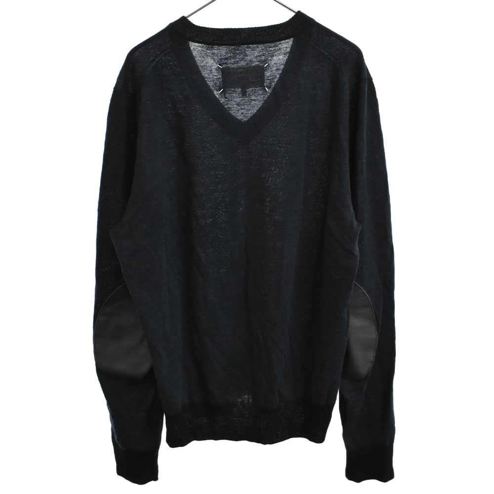 エルボーパッチ Vネックニットセーター