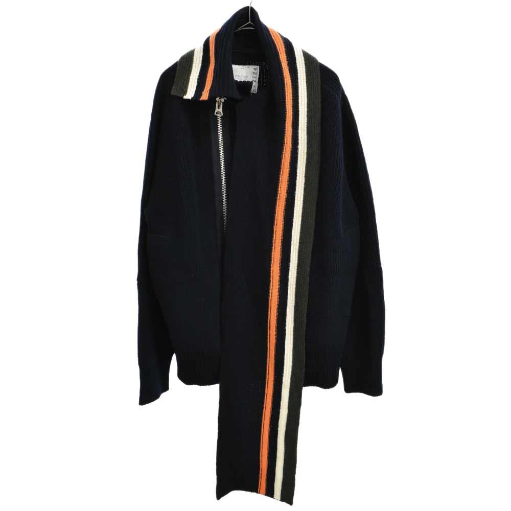 ラップカラージップアップニットセーター ジャケット