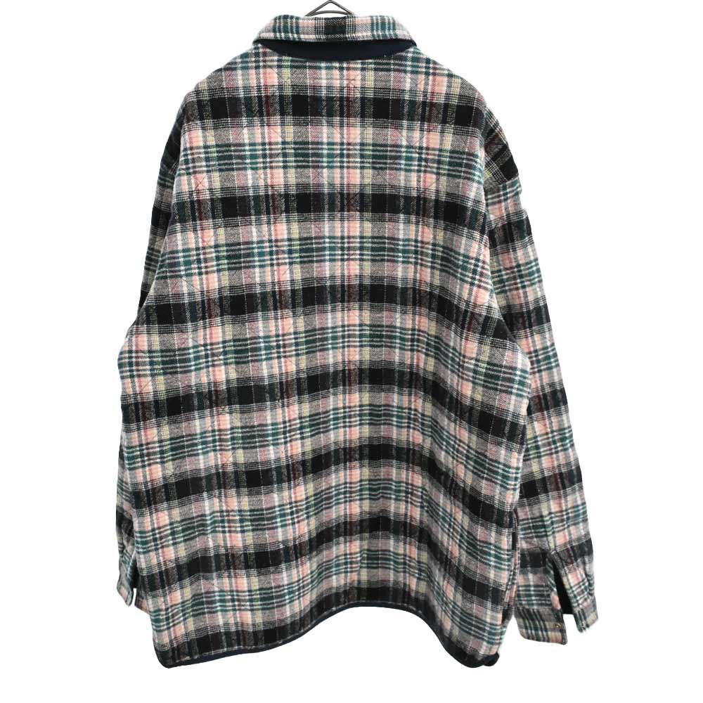 Quilted Plaid Zip Up Shirt  ピルドジップ キルティング長袖チェックシャツ