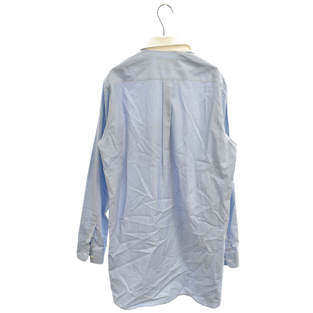 バードエンブロイダリーストライプロング丈長袖シャツ