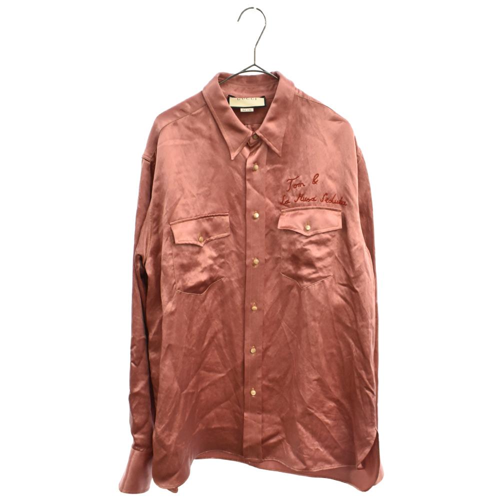 刺繍サテン長袖シャツ