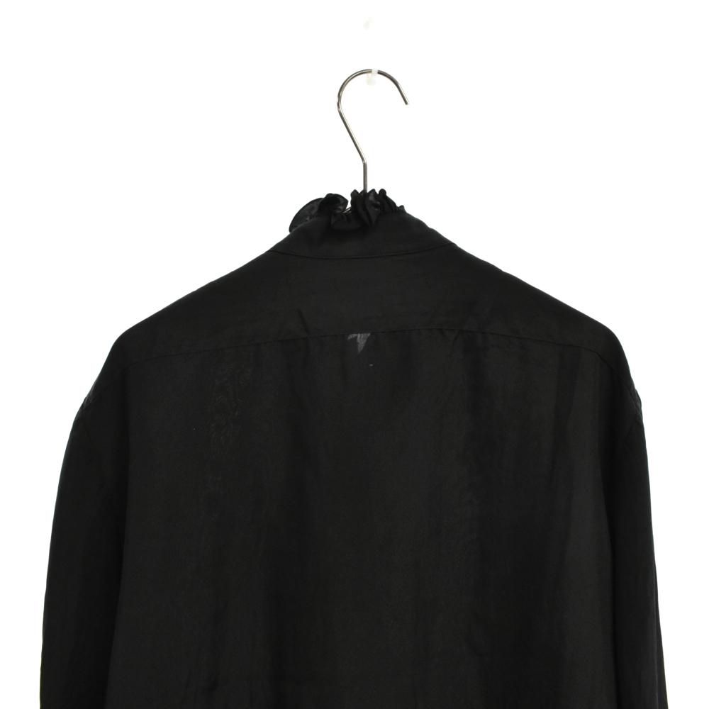 フリルデザイン長袖シルクシャツ
