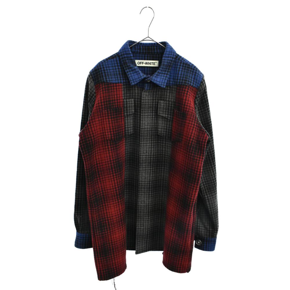 Patchwork Check Shirt パッチワークチェックシャツジャケットカラー
