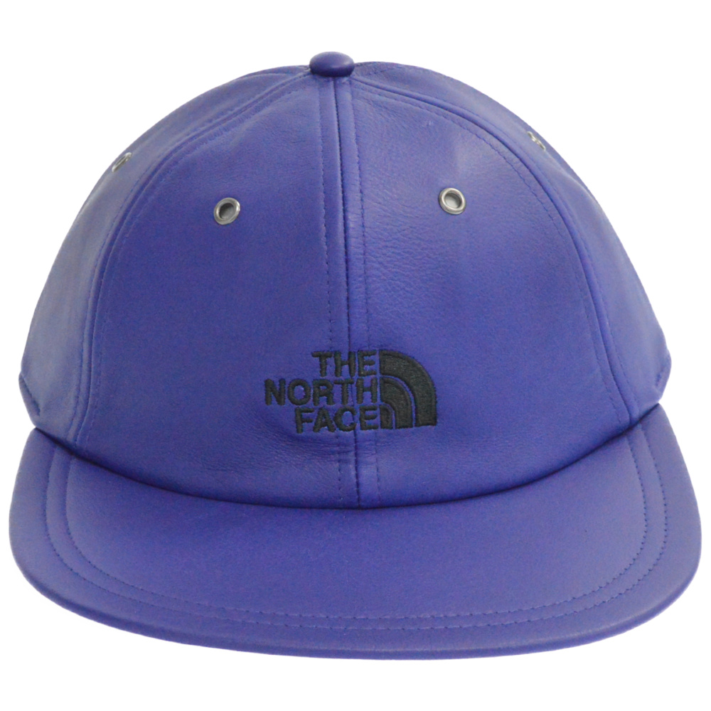 ×THE NORTH FACE Leather 6-Panel Cap AZTEC BLUE ロゴ刺繍6パネルレザーキャップ 帽子