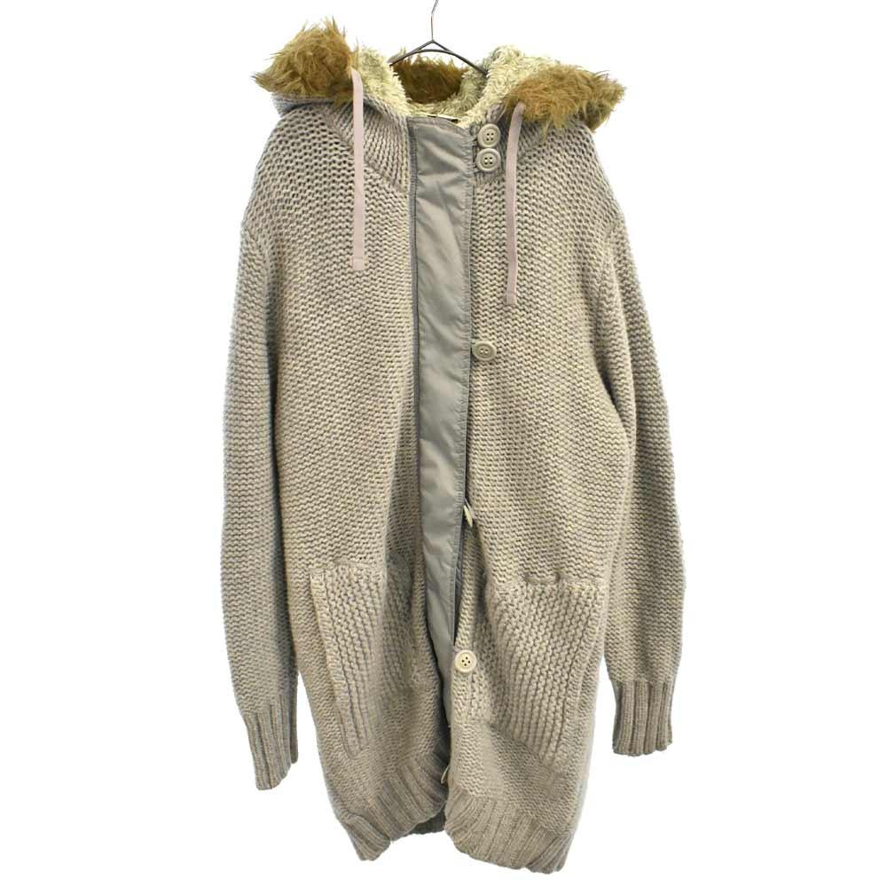 ファーフードライナー付きニットコート ジャケット