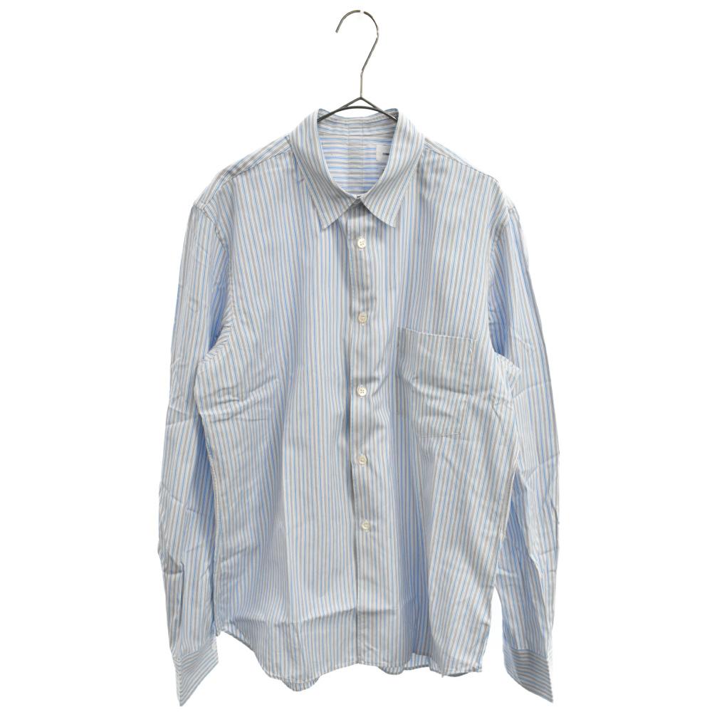 バックテープストライプ柄長袖シャツ/7ブルー