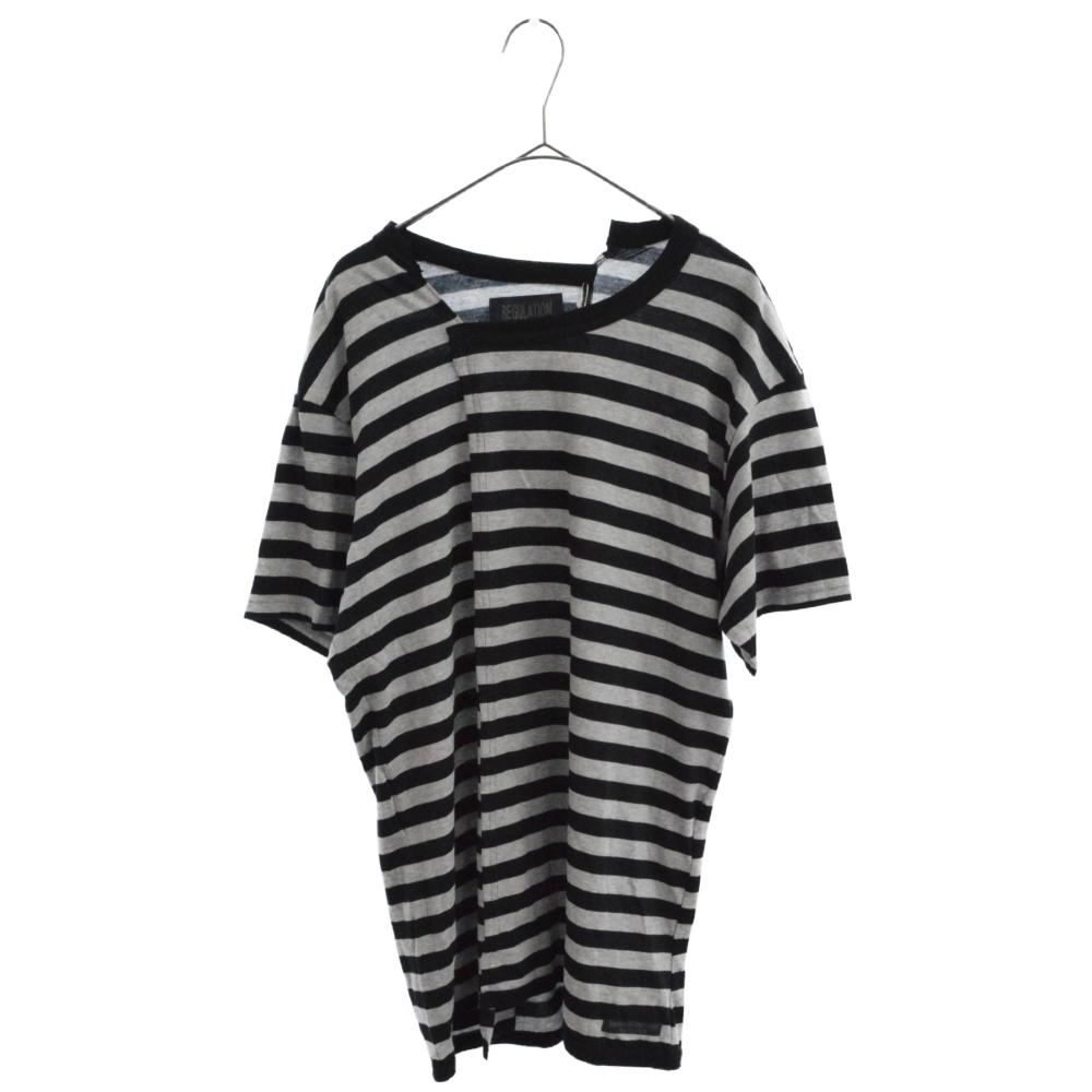 タテ切り替えボーダー柄 再構築半袖Tシャツ