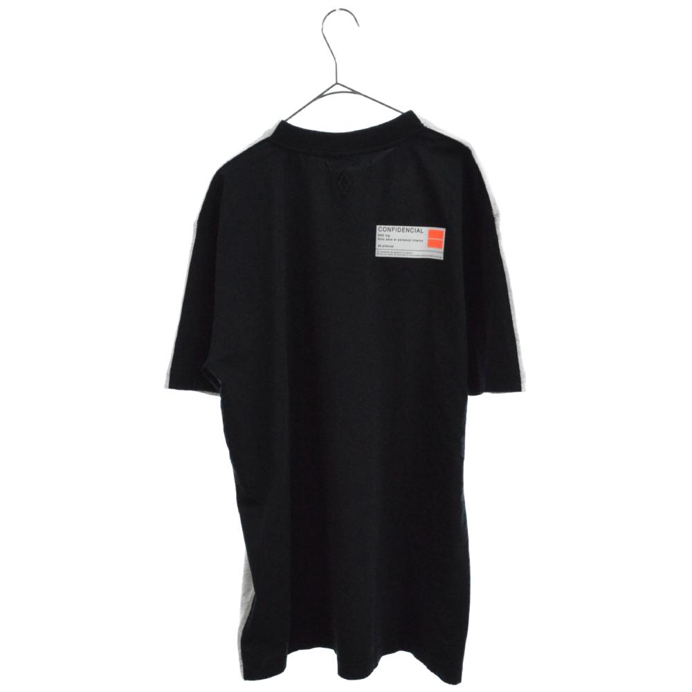 Confidential フロントプリントクルーネックリブ付半袖Tシャツ