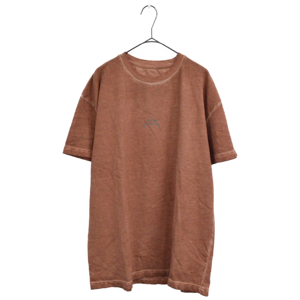 BASIC TEE RUST レンガ色 色ムラ加工クルーネック半袖Tシャツ ライトブラウン