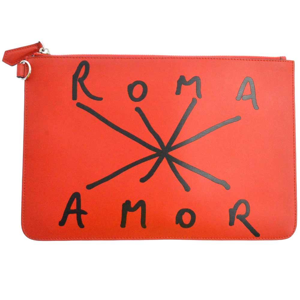ROMA AMOR ハンドペイントステッチ風レザークラッチバッグ ハンドバッグ