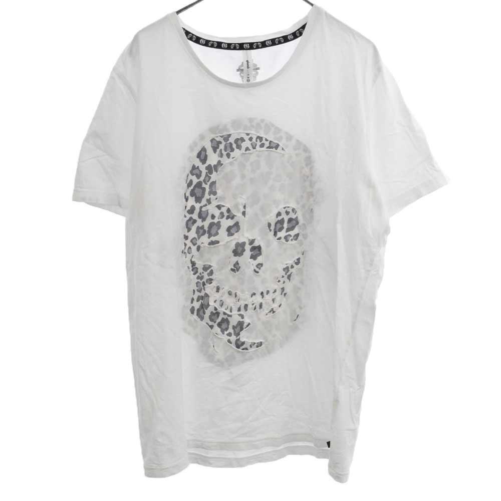 レオパードスカルインレイ半袖Tシャツ