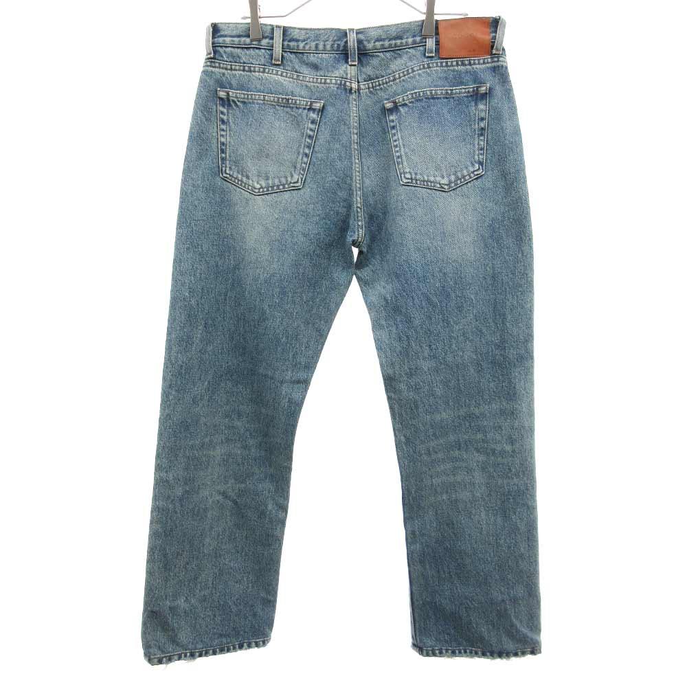 Denim Straight Pants With Embroidery スネイクハート刺繍スクラッチウォッシングデニムパンツ