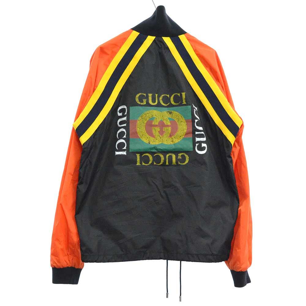 ヴィンテージバックロゴプリントナイロントラックジップアップジャケット