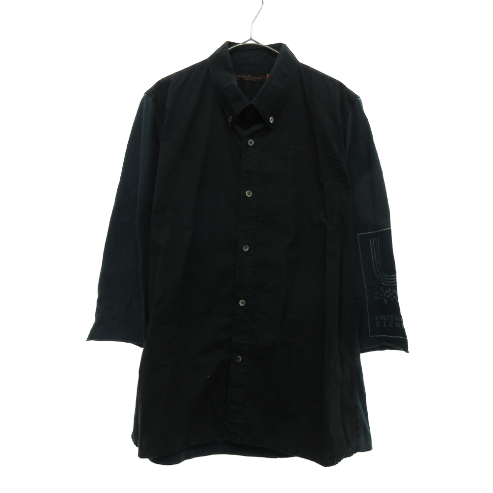 The SSSSSプリントカットソー切替ドッキング七分丈ボタンダウンシャツ