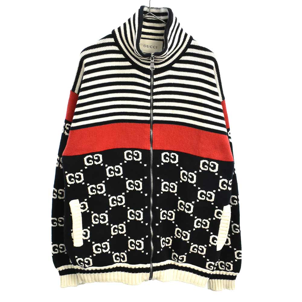 GG Stripe Cotton Jacket GGストライプフルジップコットンニットジャケット