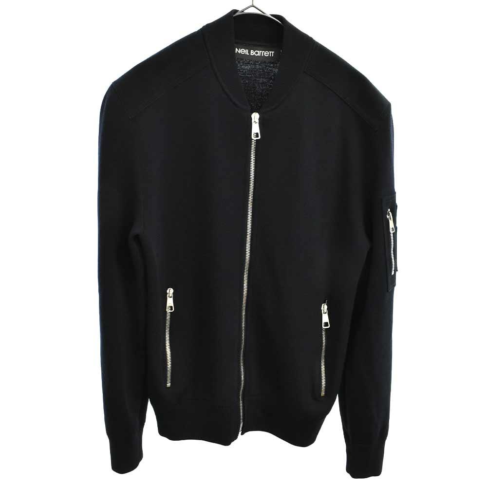 スウェードパッチニットブルゾン ニットジャケット