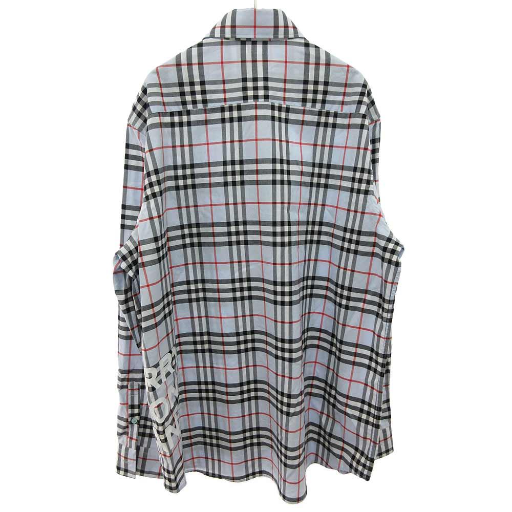 ロゴプリントコットンチェックオーバーサイズシャツ