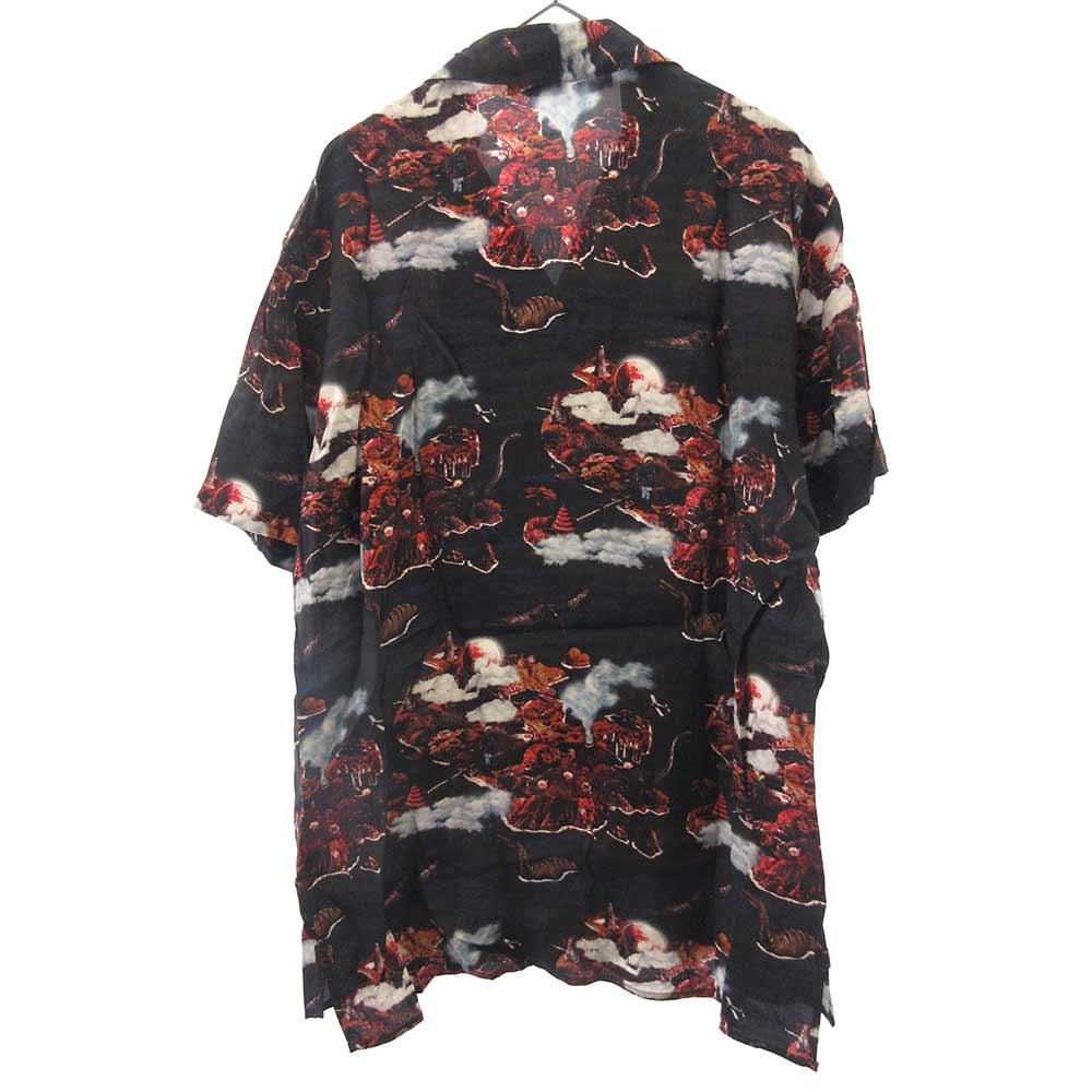 ダイナソー柄オープンカラー半袖アロハシャツ