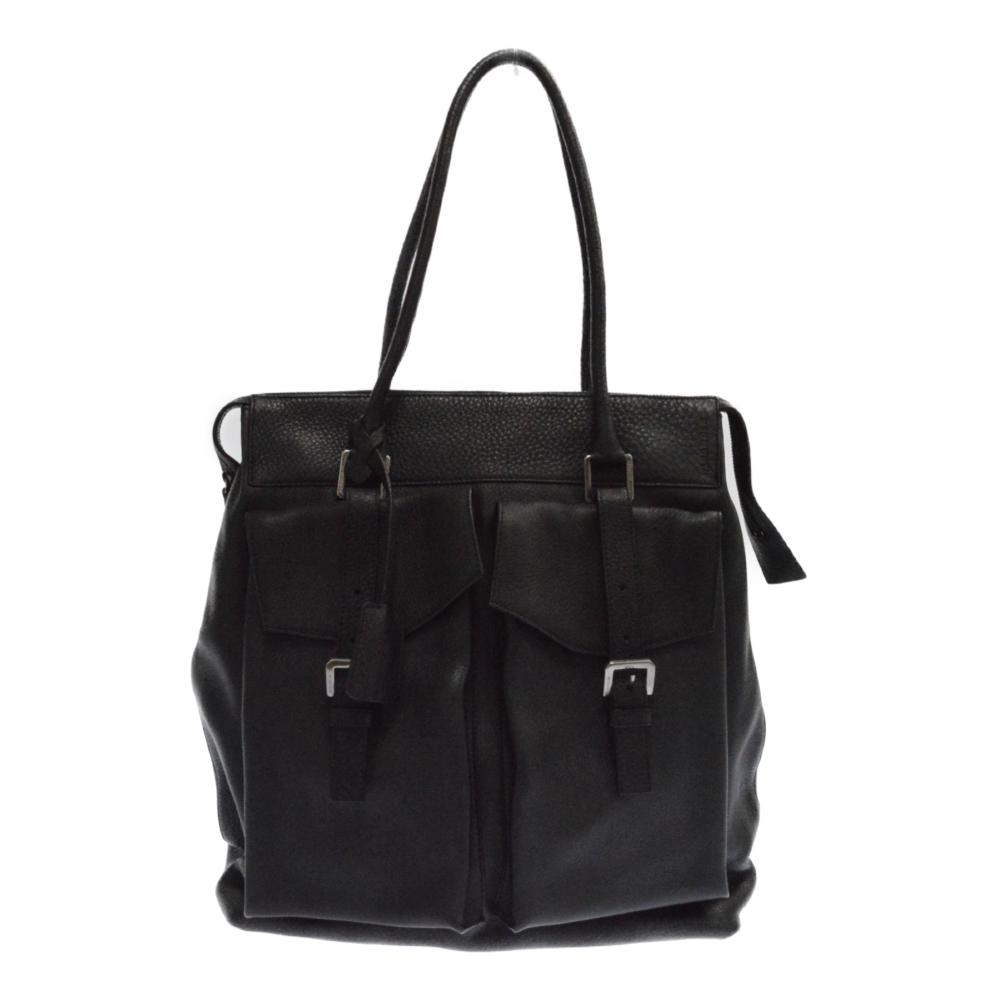 フロントポケットデザインレザートートバッグ