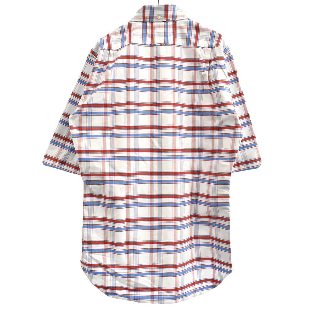 チェック柄オックスフォードコットン半袖シャツ