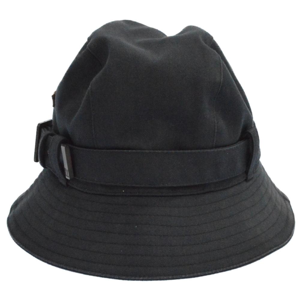 キャンパス地レザープレートハット 帽子