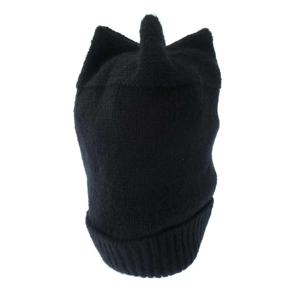 ロゴワッペン付きリブウールニットビーニー キャップ 帽子